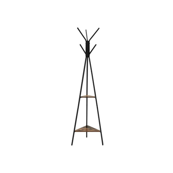 Iron Framed Coat Rack Stand with Six Hooks and Two Wooden Shelf, Black and Brown