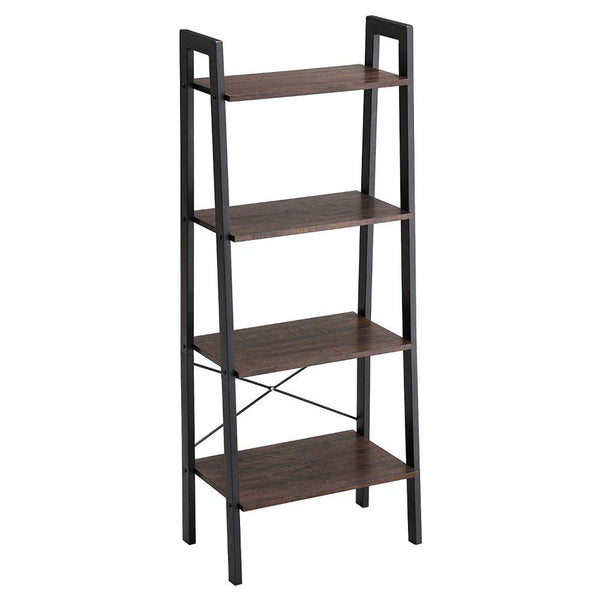 Iron Framed Ladder Style Storage Shelf with Four Wooden Shelves, Brown and Black