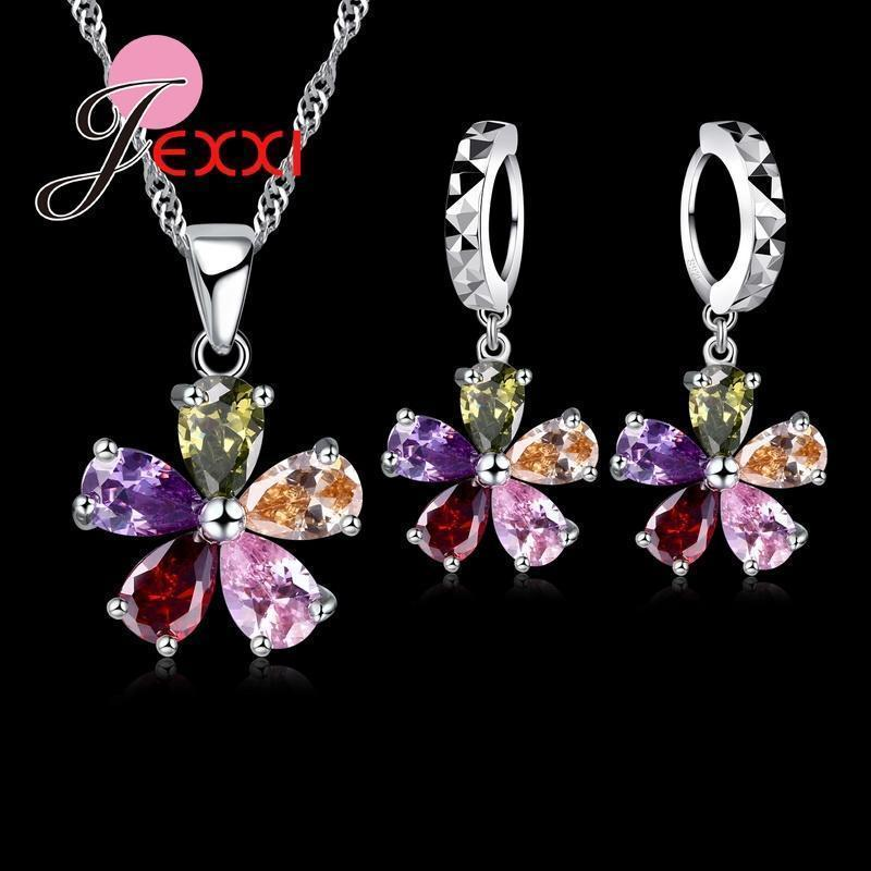 Jemmin Five Petaled Flowers Shinning Colorful Crystal Pendant Jewelry Sets Gift 925 Sterling Necklace Dangle/Hoop Earring Sets--JadeMoghul Inc.