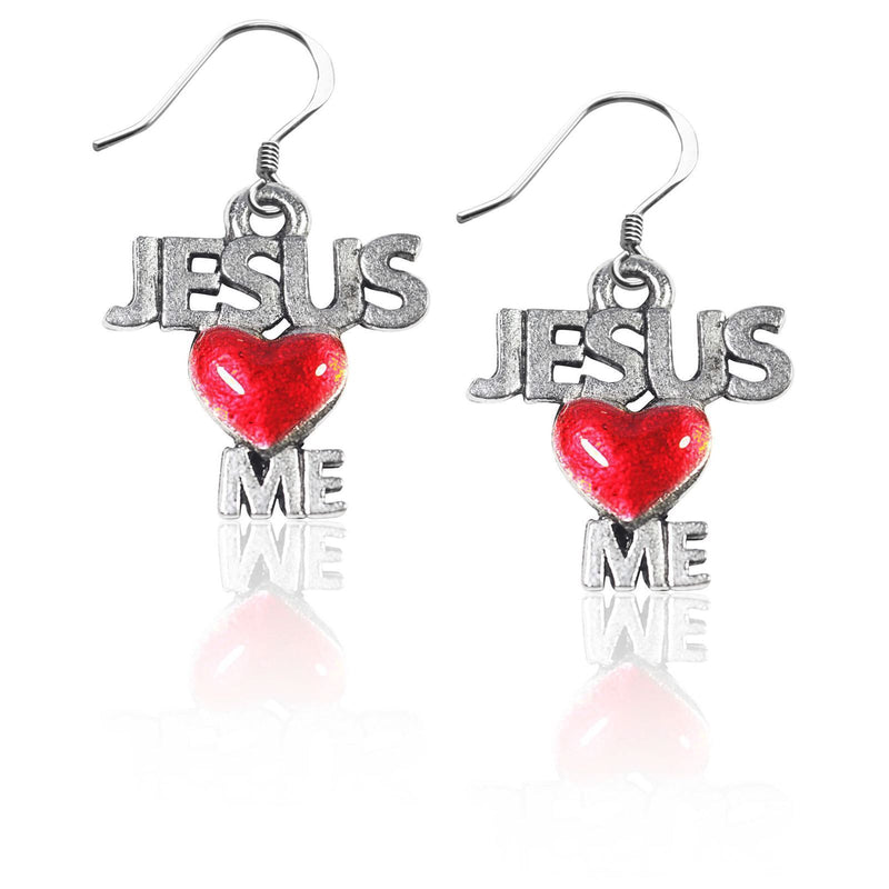 Jesus Loves Me Charm Earrings in Silver-Charm-JadeMoghul Inc.