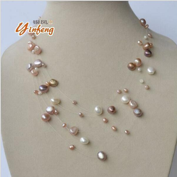 Jewelry [MeiBaPJ] S925 silver clasp natural freshwater pearl necklace Multi layer white/gold/colar for the public to wear fine jewelry AExp