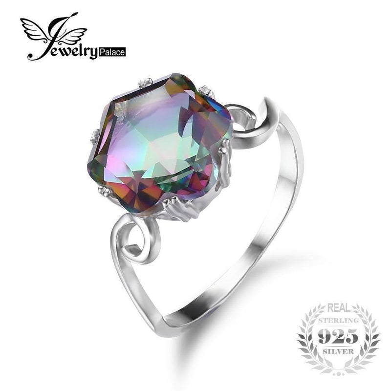 JewelryPalace 3.2ct Genuine Rainbow Fire Mystic Topaz Ring Solid 925 Sterling Silver Jewelry Best Gift For Women Fine Jewelry-6-JadeMoghul Inc.
