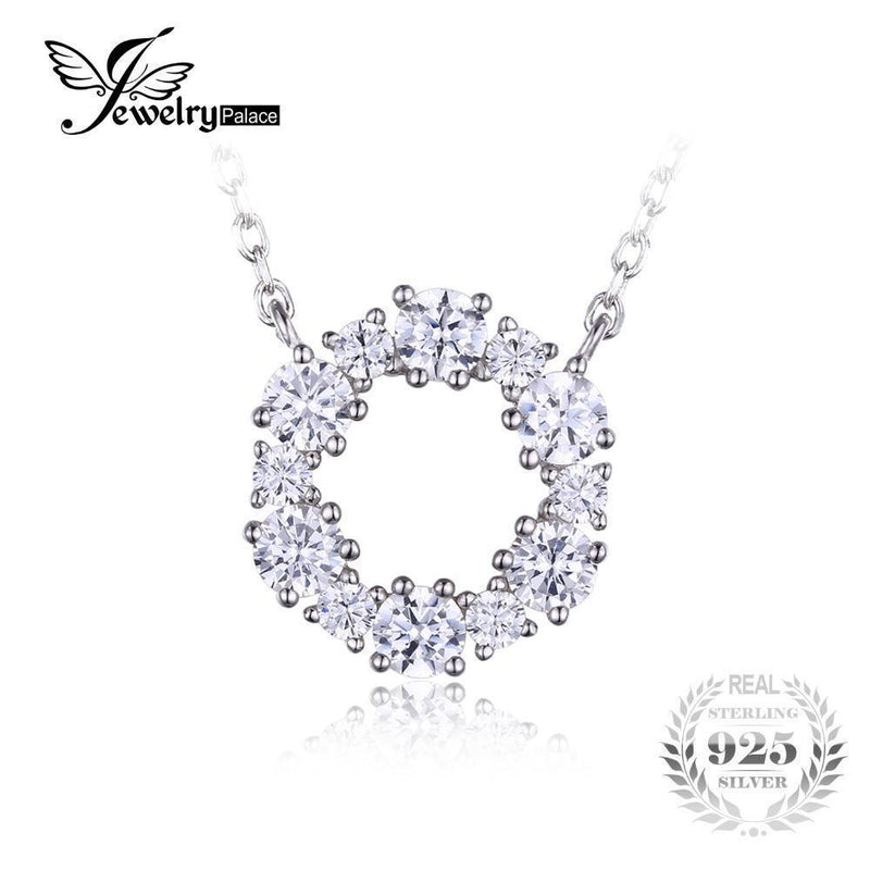 JewelryPalace 925 Sterling Silver Circle Chain Pendant Collar Necklace 45cm Fine Jewelry For Women--JadeMoghul Inc.