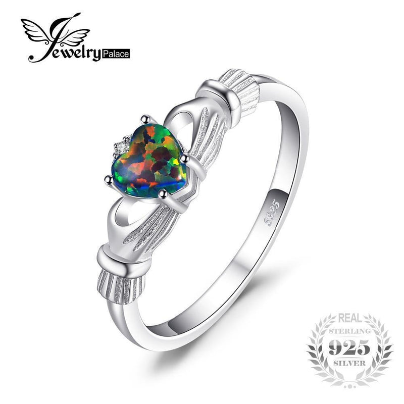JewelryPalace Black Fire Opal Multicolor Irish Claddagh Rainbow Ring Solid 925 Sterling Silver Love Heart Gemstone Jewelry-4-JadeMoghul Inc.