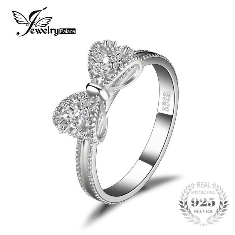 JewelryPalace Bow Anniversary Wedding Ring For Women Solid 925 Sterling Silver Jewelry For Girl Party Friend Gift-6-JadeMoghul Inc.