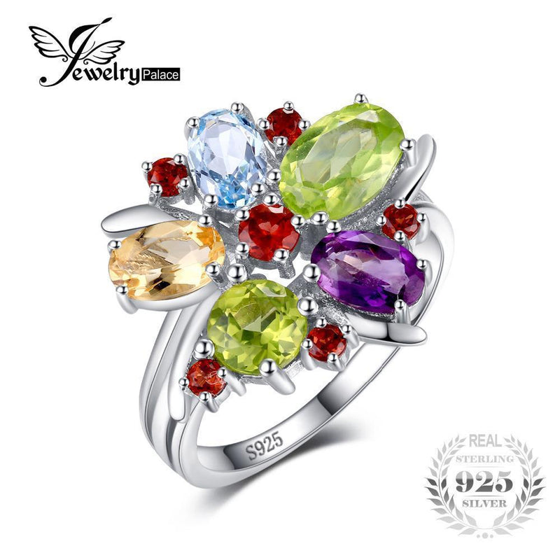 JewelryPalace Flower Multicolor 3.1ct Natural Amethyst Garnet Peridot Citrine Blue Topaz Cocktail Ring 925 Sterling Silver Ring-6-JadeMoghul Inc.