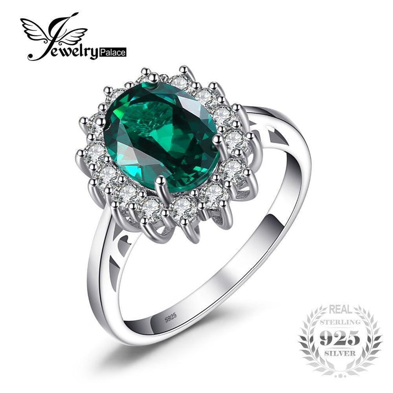 JewelryPalace Green Emerald 925 Sterling Silver Fashion Princess Diana Engagement Wedding Ring For Women Solitaire-6-JadeMoghul Inc.