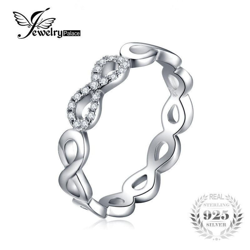 JewelryPalace Infinity Forever Love Anniversary Promise Ring Pure 925 Sterling Silver Jewelry For Women Gift-6-JadeMoghul Inc.