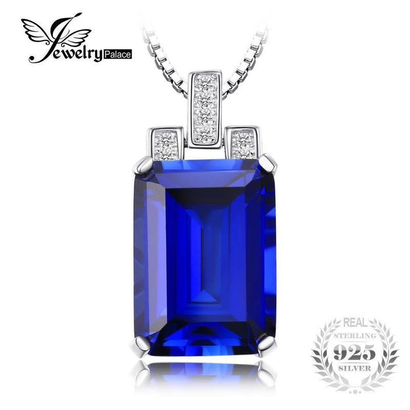 JewelryPalace Luxury Emerald Cut 9.4ct Created Blue Sapphire Pendant Genuine 925 Sterling Silver Jewelry for Women Fine Jewelry--JadeMoghul Inc.
