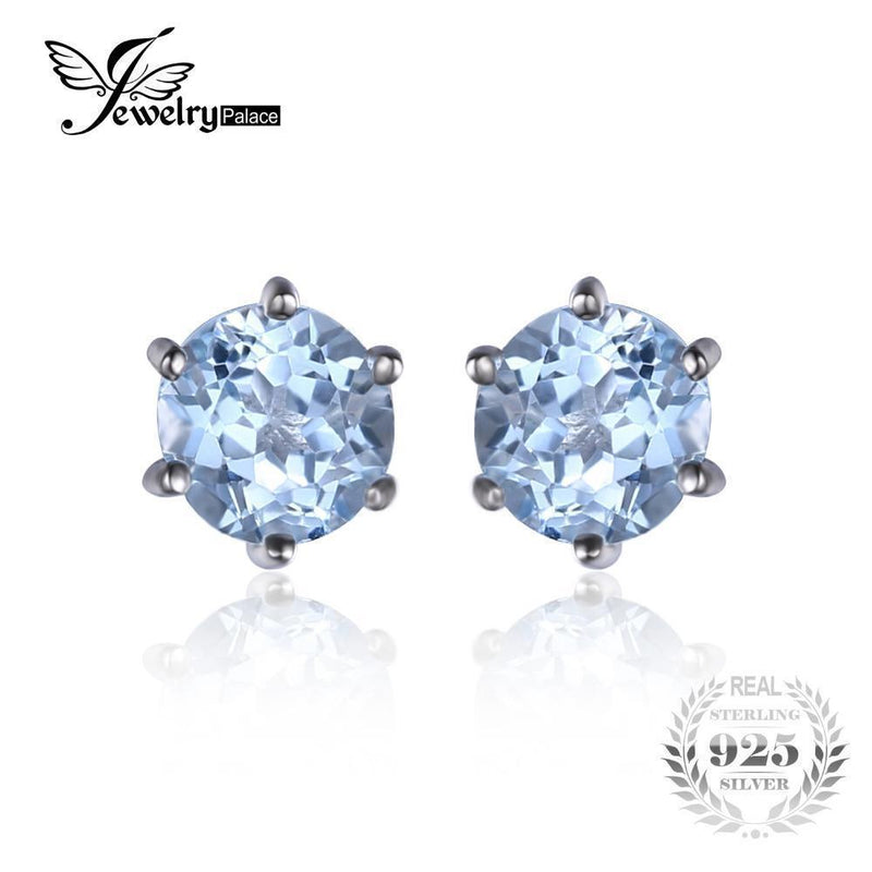 JewelryPalace Natural Blue Topaz Earrings Stud Genuine 925 Sterling Silver Jewelry New Women Jewelry Outstanding Fine Jewelry--JadeMoghul Inc.