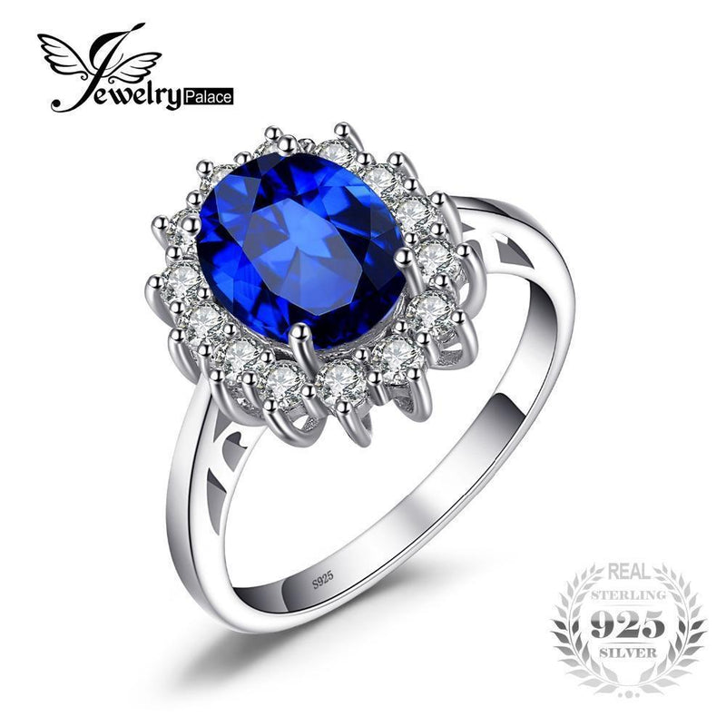 JewelryPalace Princess Diana 3.2 ct Created Blue Sapphire Ring 925 Sterling Silver Engagement Rings For Women Brand Fine Jewelry-5-JadeMoghul Inc.