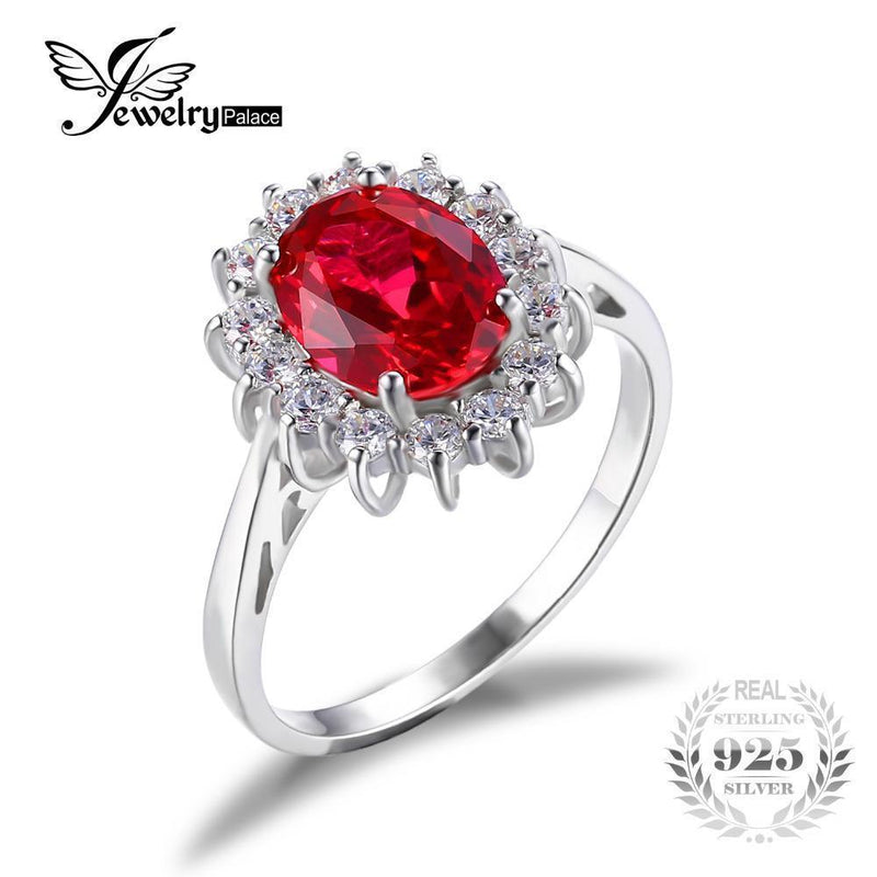 JewelryPalace Princess Diana William Kate Middleton's 3.2ct Created Red Ruby Engagement 925 Sterling Silver Ring Wedding Ring-6-JadeMoghul Inc.