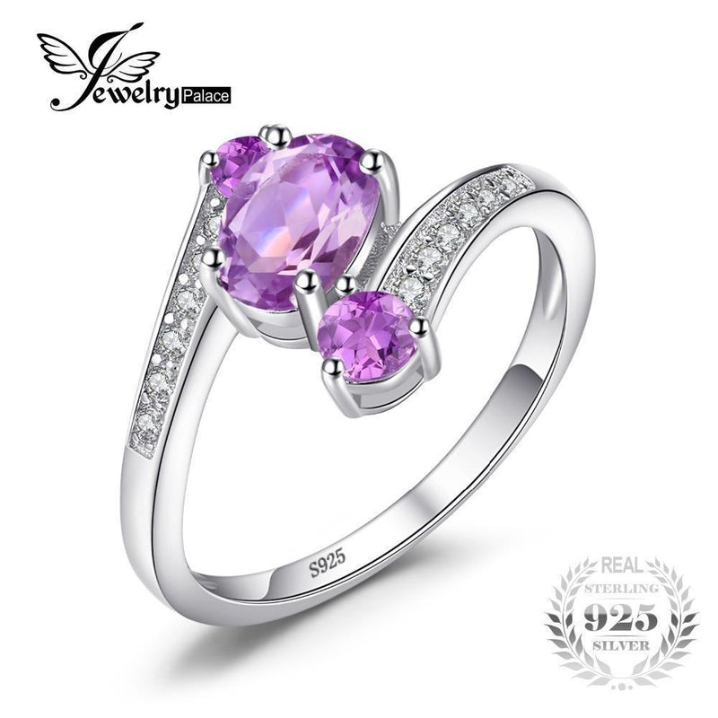 JewelryPalace Pure 925 Sterling Silver 0.9ct Natural Amethyst 3 Stone Anniversary Ring Oval Fashion Engagement Jewelry For Women-6-Purple-JadeMoghul Inc.