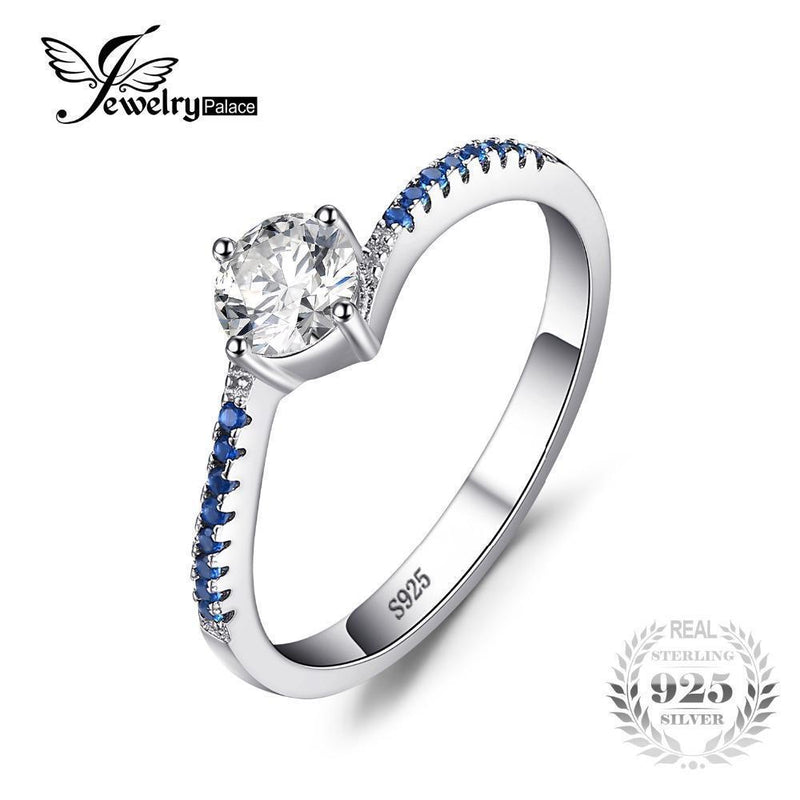 JewelryPalace Round 0.7ct Created Blue Nano Sapphire Anniversary Promise Engagement Ring Real 925 Sterling Silver Ring Jewelry-7-JadeMoghul Inc.