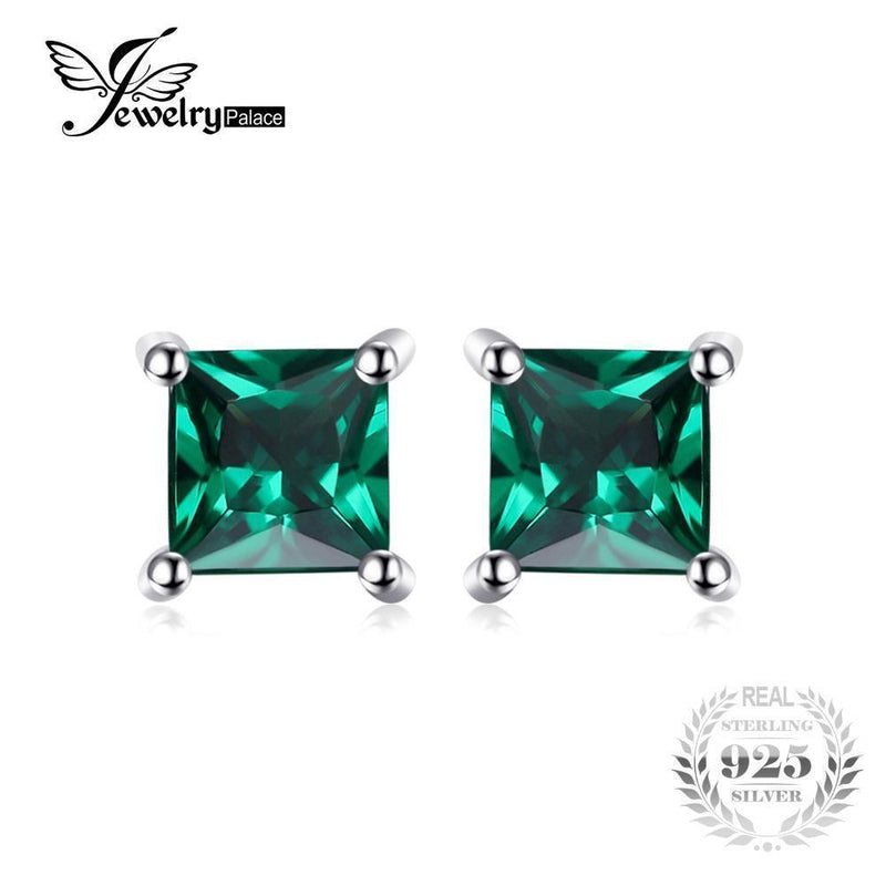 Jewelrypalace Square 0.6ct Created Emerald 925 Sterling Silver Stud Earrings Fashion Jewelry for Women--JadeMoghul Inc.