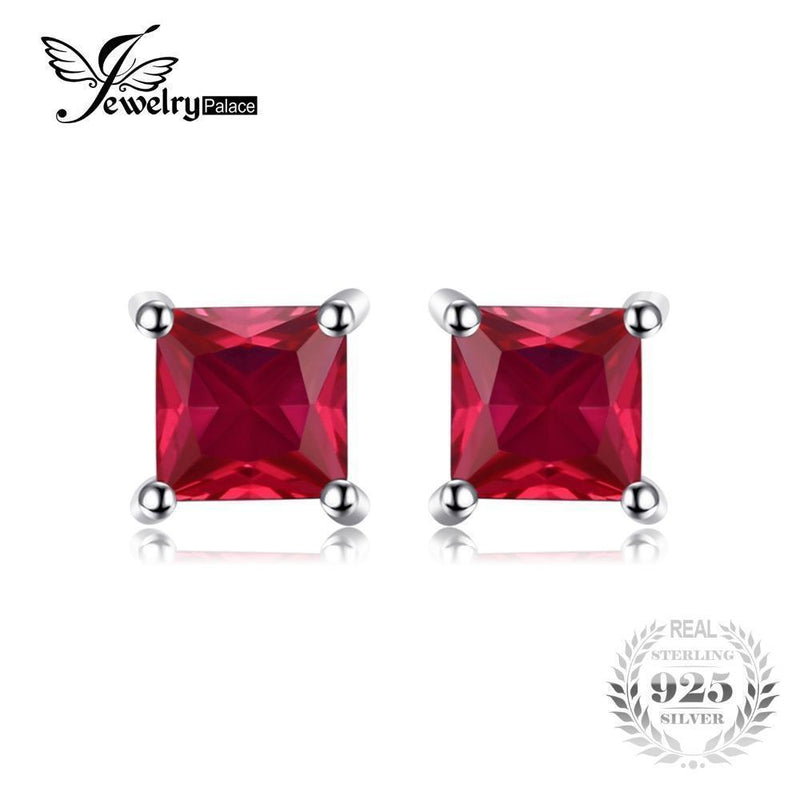 JewelryPalace Square 0.8ct Created Red Ruby 925 Sterling Silver Stud Earrings Fashion Earrings for Women Fine Jewelry New Brand--JadeMoghul Inc.
