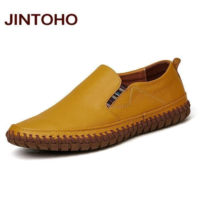 JINTOHO Big Size Men Genuine Leather Shoes Slip On Black Shoes Real Leather Loafers Mens Moccasins Shoes Italian Designer Shoes-huang se-6.5-JadeMoghul Inc.