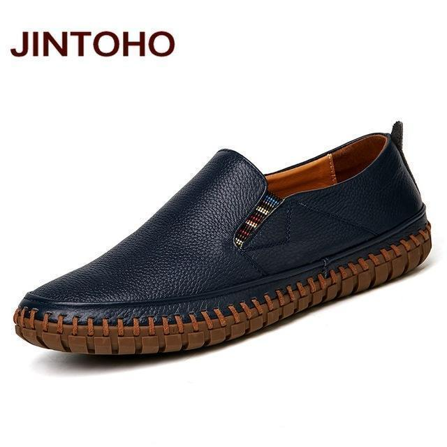JINTOHO Big Size Men Genuine Leather Shoes Slip On Black Shoes Real Leather Loafers Mens Moccasins Shoes Italian Designer Shoes-lan se-6.5-JadeMoghul Inc.