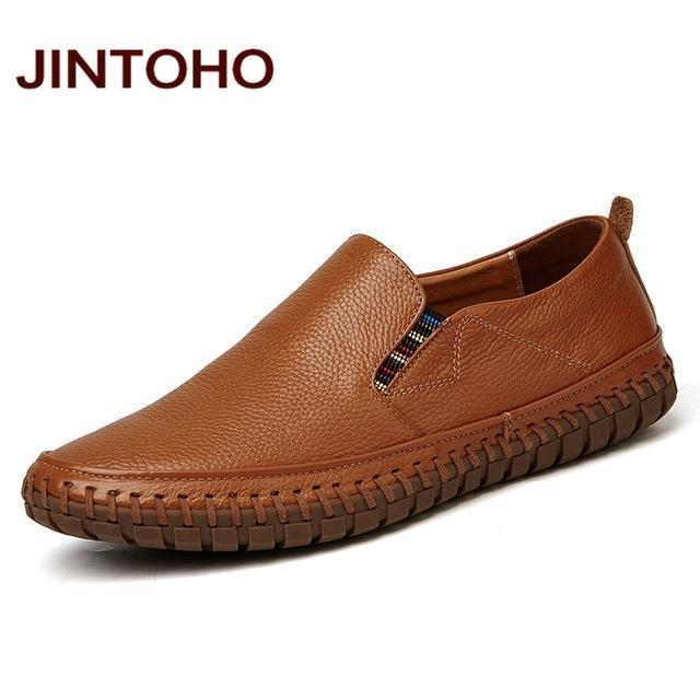 JINTOHO Big Size Men Genuine Leather Shoes Slip On Black Shoes Real Leather Loafers Mens Moccasins Shoes Italian Designer Shoes-zong se-6.5-JadeMoghul Inc.