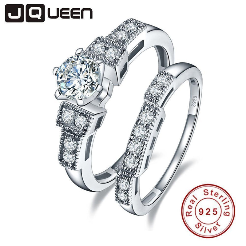 JQUEEN 100% 925 Sterling Silver Wedding Rings For Women Luxury 1.25 Carat 5*5mm cz Engagement sterling silver couple ring-10-925 Silver Ring-JadeMoghul Inc.