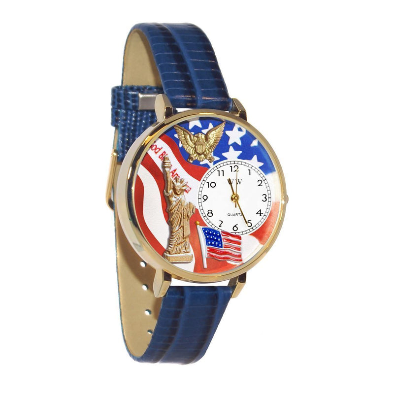 July 4th Patriotic Watch in Gold (Large)-Watch-JadeMoghul Inc.