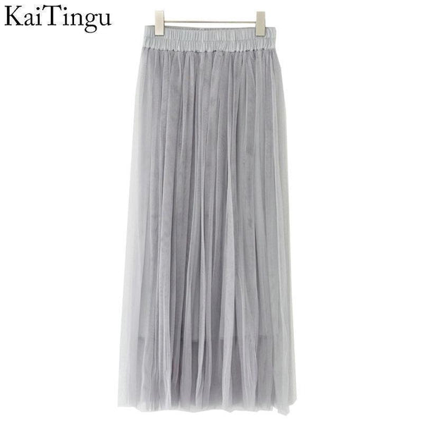 KaiTingu Brand New Fashion 2016 Ladies Gray Color 3 Layer Pleated Skirt Long Tulle Skirts Straight Grey Solid Mesh Skater Skirt-FZ0066-One Size-JadeMoghul Inc.