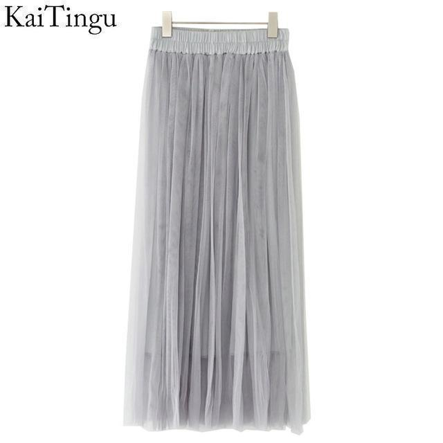 KaiTingu Brand New Fashion 2016 Ladies Gray Color 3 Layer Pleated Skirt Long Tulle Skirts Straight Grey Solid Mesh Skater Skirt-FZ0074-One Size-JadeMoghul Inc.