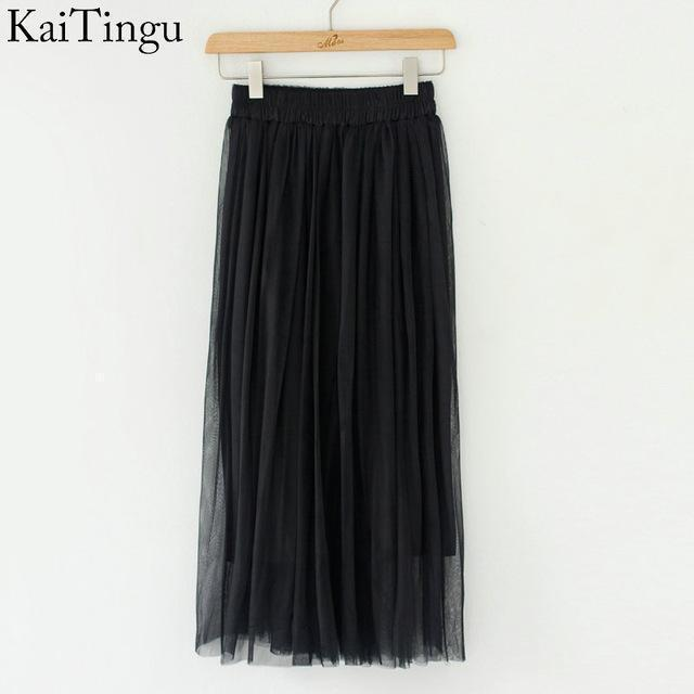 KaiTingu Brand New Fashion 2016 Ladies Gray Color 3 Layer Pleated Skirt Long Tulle Skirts Straight Grey Solid Mesh Skater Skirt-FZ0075-One Size-JadeMoghul Inc.
