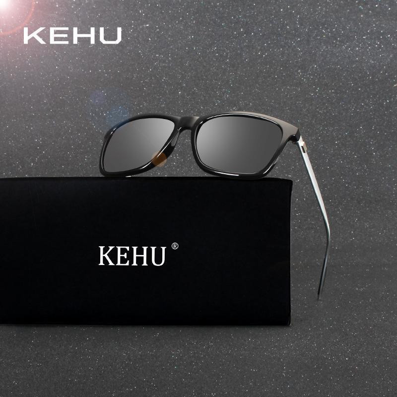 KEHU Polarized Sunglasses Men Square Brand Designer Male Aviation Vintage Sun Glasses Masculino H1815-c1 black lens-JadeMoghul Inc.