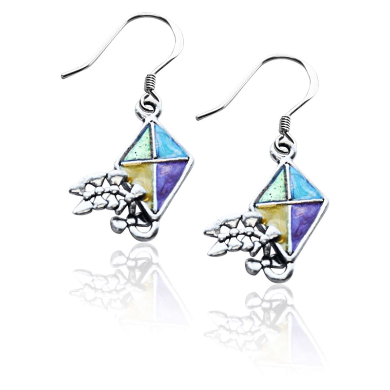 Kite Charm Earrings in Silver-Charm-JadeMoghul Inc.
