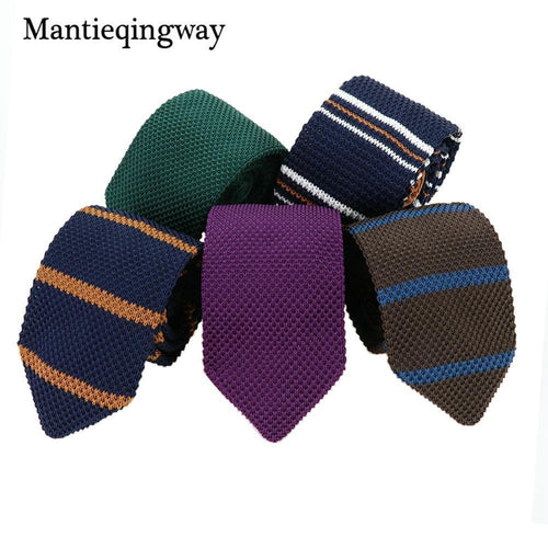 Knitted Ties / Striped Woven Skinny Ties-JadeMoghul Inc.