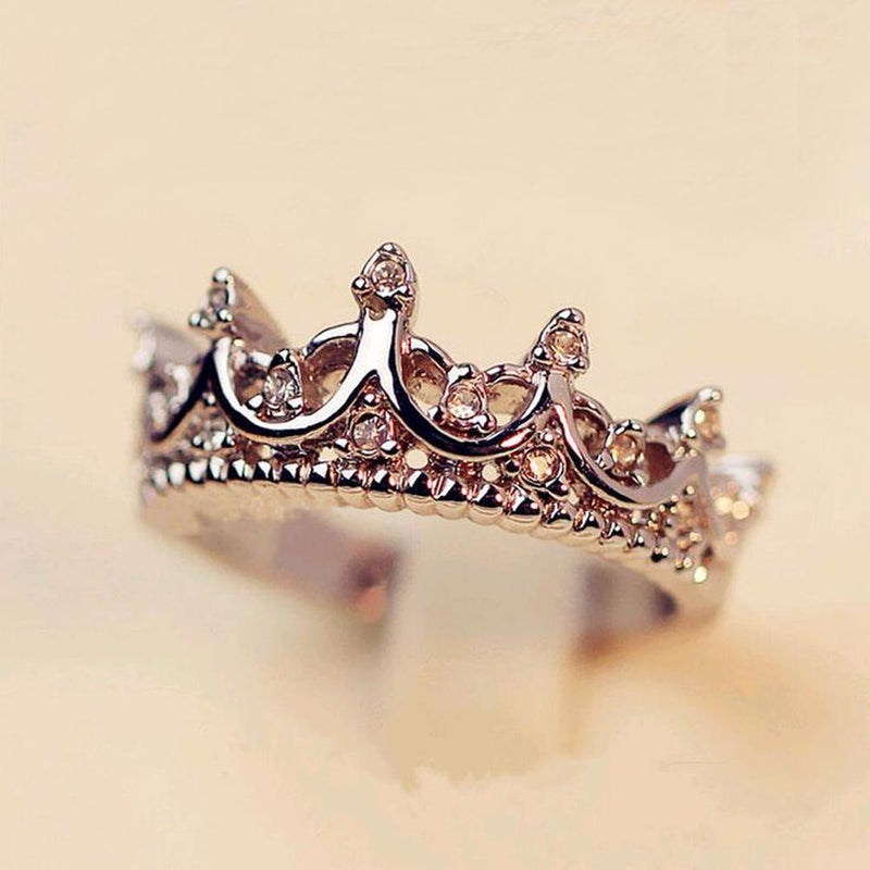 Korean Style Retro Crystal Drill Hollow Crown Shaped Queen Temperament Rings For Women Party Wedding Ring Jewelry Free Shipping-5-JadeMoghul Inc.