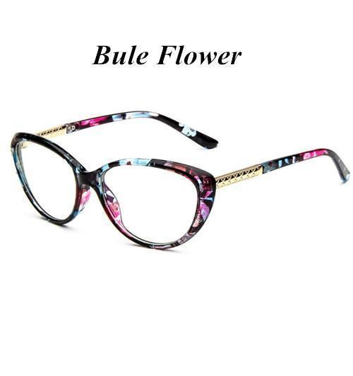 KOTTDO Women Retro Cat Eye Eyeglasses Brand Spectacles Glasses Optical Spectacle Frame Vintage Computer Reading Glasses oculos-bule flower-JadeMoghul Inc.