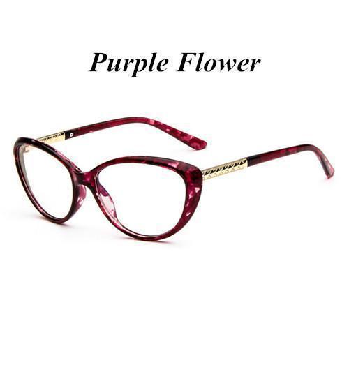 KOTTDO Women Retro Cat Eye Eyeglasses Brand Spectacles Glasses Optical Spectacle Frame Vintage Computer Reading Glasses oculos-purple flower-JadeMoghul Inc.