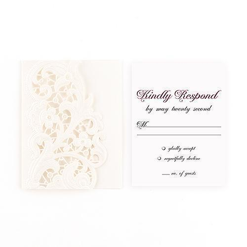 Lace Opulence Laser Embossed Accessory Cards with Personalization (Pack of 1)-Weddingstar-JadeMoghul Inc.