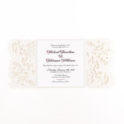 Lace Opulence Laser Embossed Invitations with Personalization (Pack of 1)-Invitations & Stationery Essentials-JadeMoghul Inc.