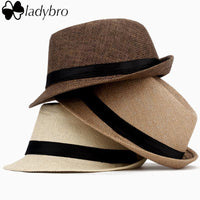 Ladybro Women Hat For Men Hat Ladies Summer Beach Cap Sun Hat Female Panama Straw Male Gangster Trilby Fashion Sun Visor Cap-001 milky white-JadeMoghul Inc.