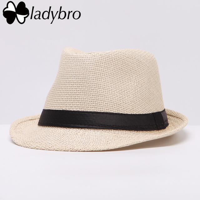 Ladybro Women Hat For Men Hat Ladies Summer Beach Cap Sun Hat Female Panama Straw Male Gangster Trilby Fashion Sun Visor Cap-002 beige-JadeMoghul Inc.