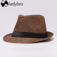Ladybro Women Hat For Men Hat Ladies Summer Beach Cap Sun Hat Female Panama Straw Male Gangster Trilby Fashion Sun Visor Cap-003 coffee-JadeMoghul Inc.
