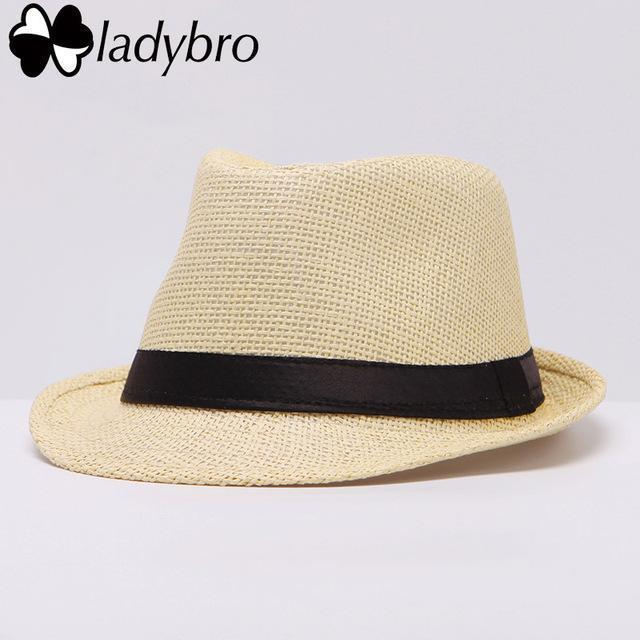 Ladybro Women Hat For Men Hat Ladies Summer Beach Cap Sun Hat Female Panama Straw Male Gangster Trilby Fashion Sun Visor Cap-004 light yellow-JadeMoghul Inc.
