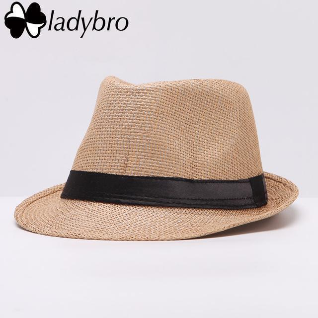 Ladybro Women Hat For Men Hat Ladies Summer Beach Cap Sun Hat Female Panama Straw Male Gangster Trilby Fashion Sun Visor Cap-006 khaki-JadeMoghul Inc.