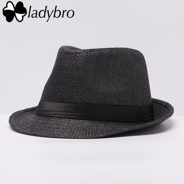 Ladybro Women Hat For Men Hat Ladies Summer Beach Cap Sun Hat Female Panama Straw Male Gangster Trilby Fashion Sun Visor Cap-007 black-JadeMoghul Inc.