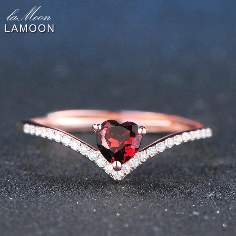 LAMOON 4mm 0.3ct 100% Natural Heart cut Red Garnet Ring 925 Sterling Silver Jewelry Romantic Wedding Band LMRI003--JadeMoghul Inc.