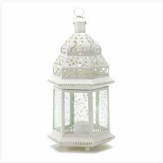 LARGE WHITE MOROCCAN LANTERN-Seasonal Merchandise/Gifts-JadeMoghul Inc.