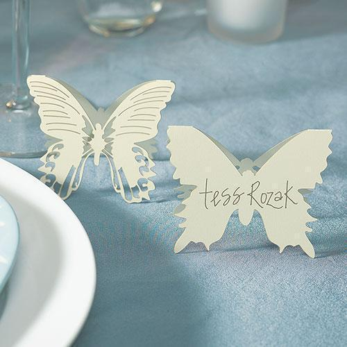 Laser Expressions Butterfly Folded Place Card - Ivory (Pack of 12)-Weddingstar-JadeMoghul Inc.
