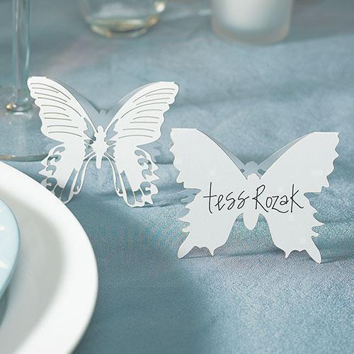 Laser Expressions Butterfly Folded Place Card - White (Pack of 12)-Weddingstar-JadeMoghul Inc.