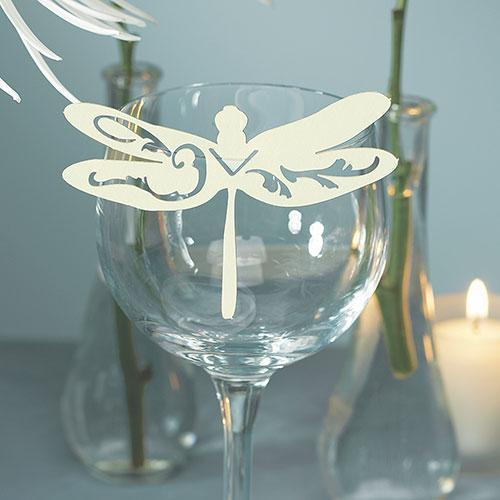Laser Expressions Dragonfly Die Cut Card - Ivory (Pack of 12)-Weddingstar-JadeMoghul Inc.