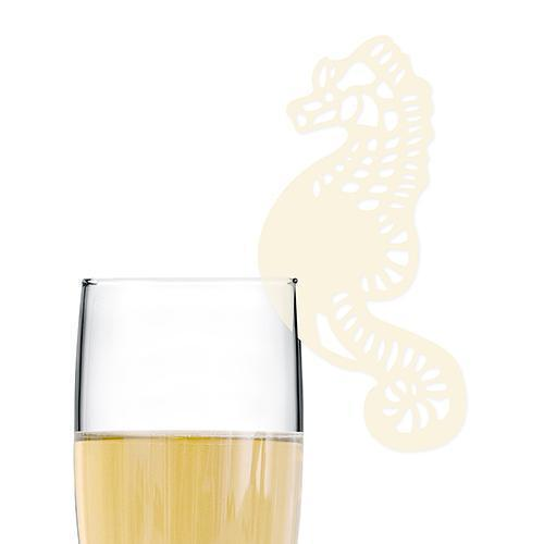 Laser Expressions Seahorse Die Cut Card - Ivory (Pack of 12)-Weddingstar-JadeMoghul Inc.