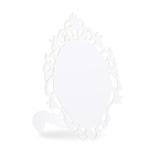 Laser Expressions Small Oval Baroque Frame Folded Place Card - White (Pack of 12)-Weddingstar-JadeMoghul Inc.
