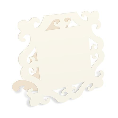 Laser Expressions Square Baroque Frame Folded Place Card - Ivory (12) (Pack of 12)-Weddingstar-JadeMoghul Inc.